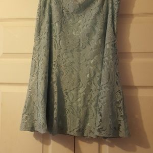 Size 10  greyish green lace skirt w/attached slip
